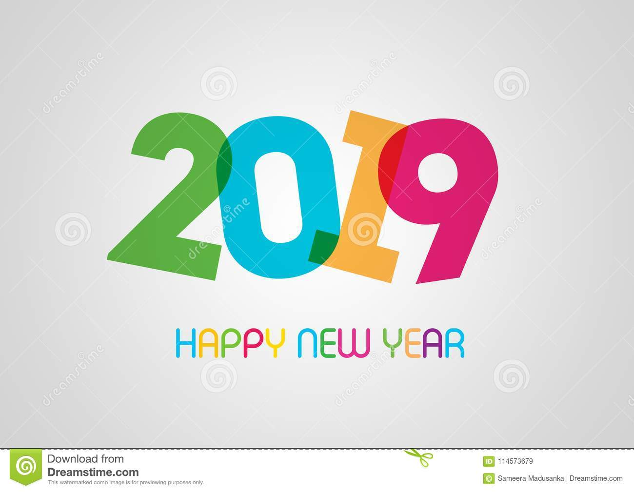 Happy new year 2019 greeting in white background stock - New year 2019 color ...