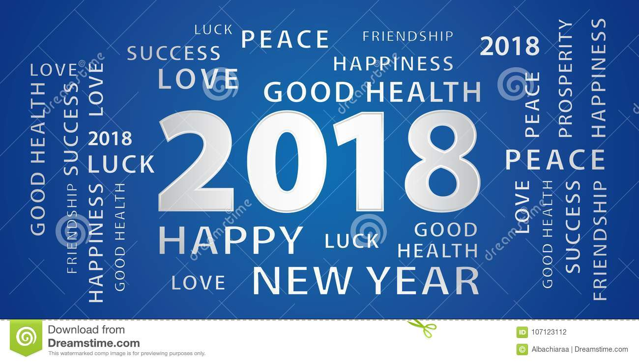 2018 happy new year greetings banner blue and silver