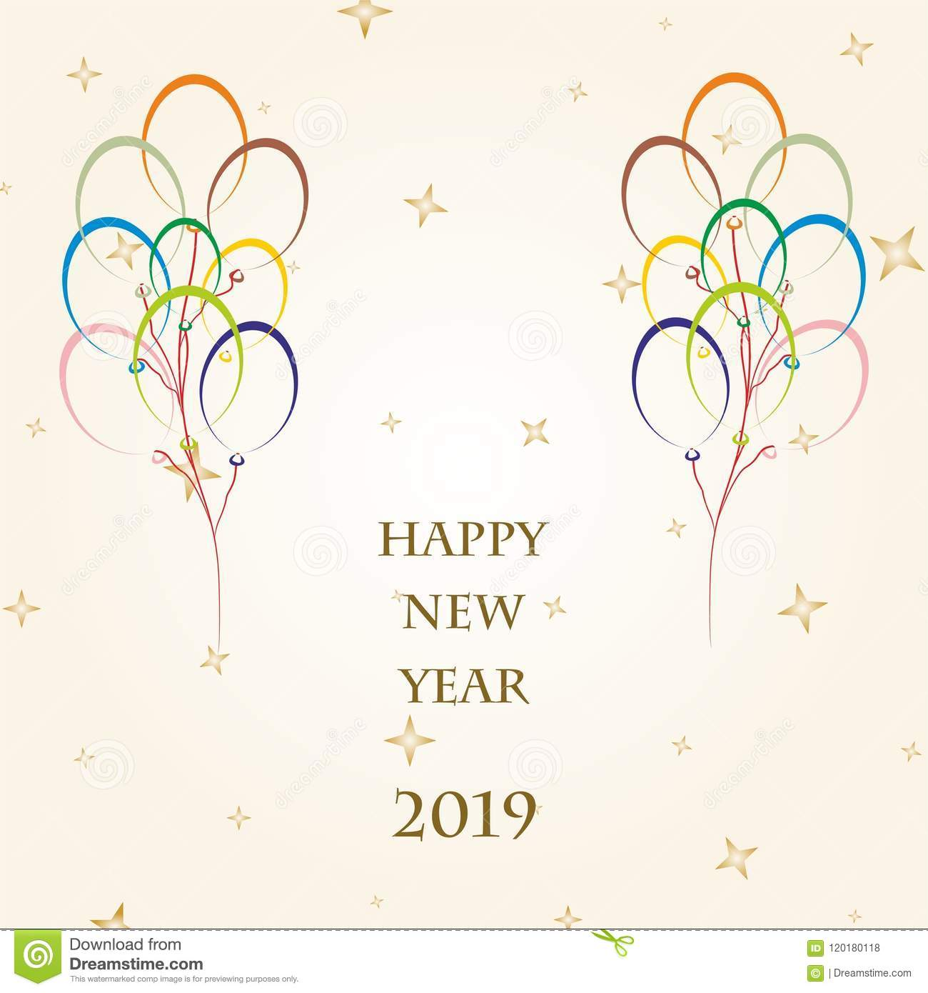 New Year Greetings For 2019 With Colorful Balloons Flying On A Gold