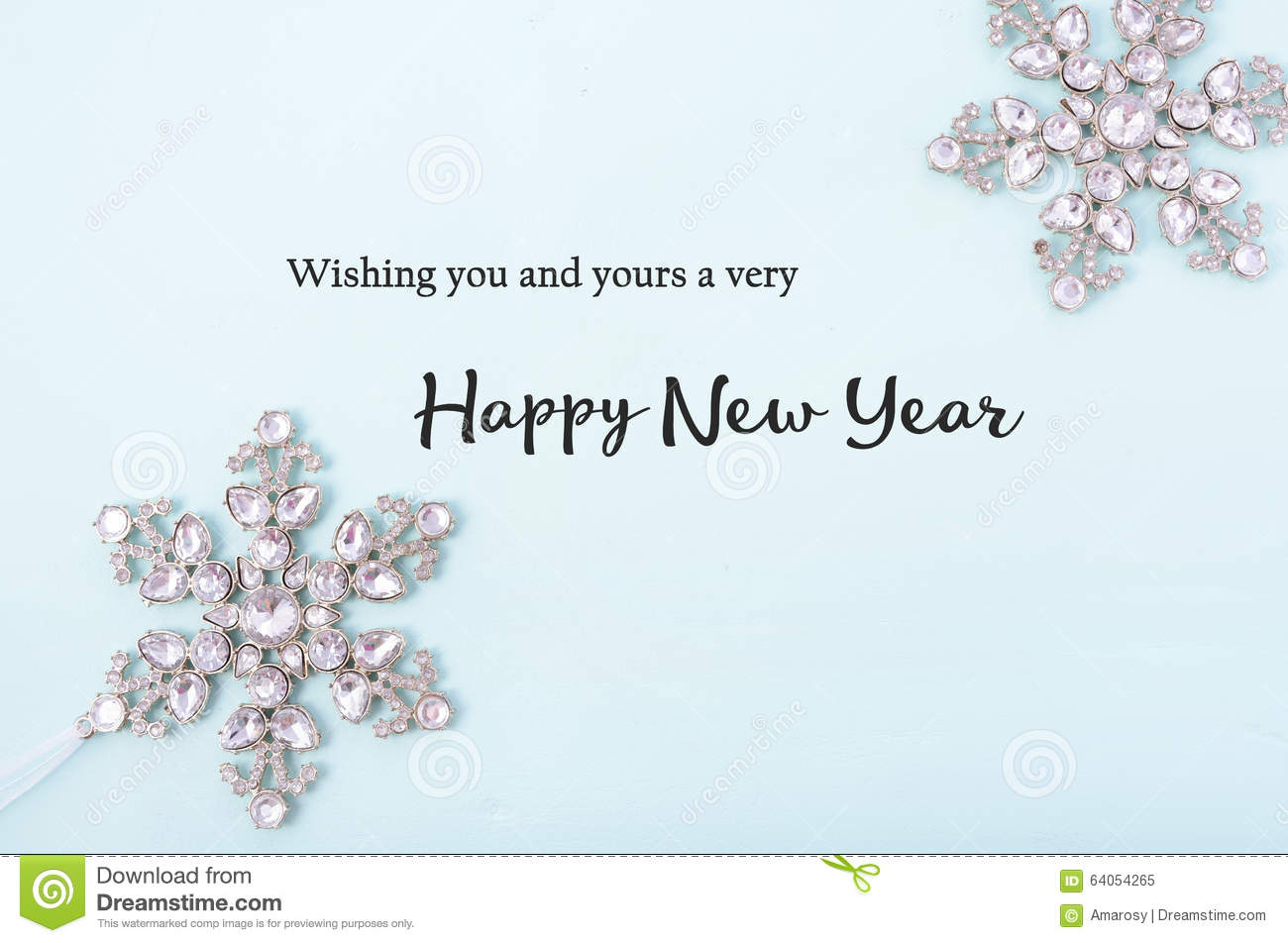 Happy new year greetings on decorated background stock image happy new year background with snowflake ornaments on pale blue wood with sample text greeting m4hsunfo