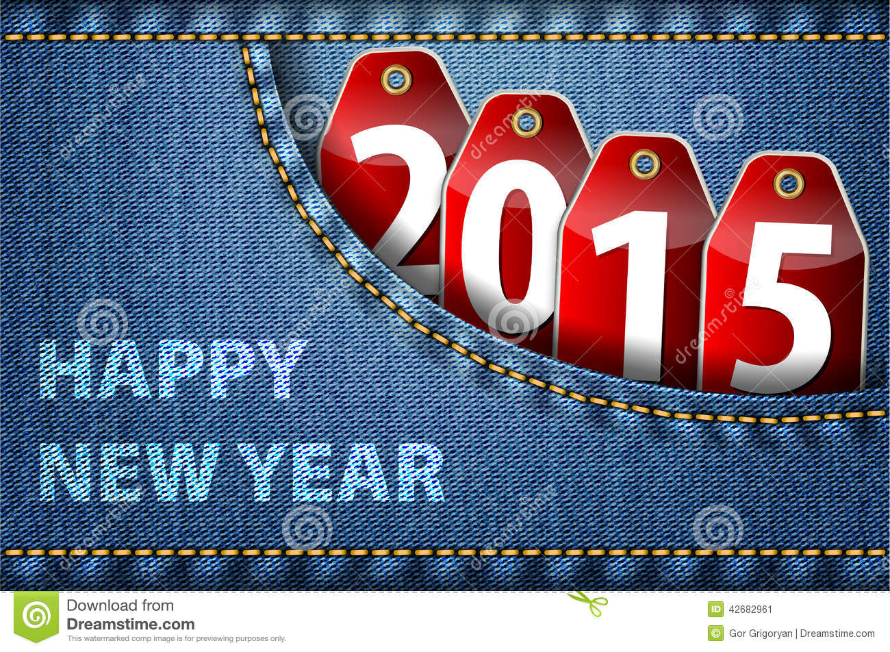 Happy New Year Greetings And 2015 Digits On Jeans Stock Vector