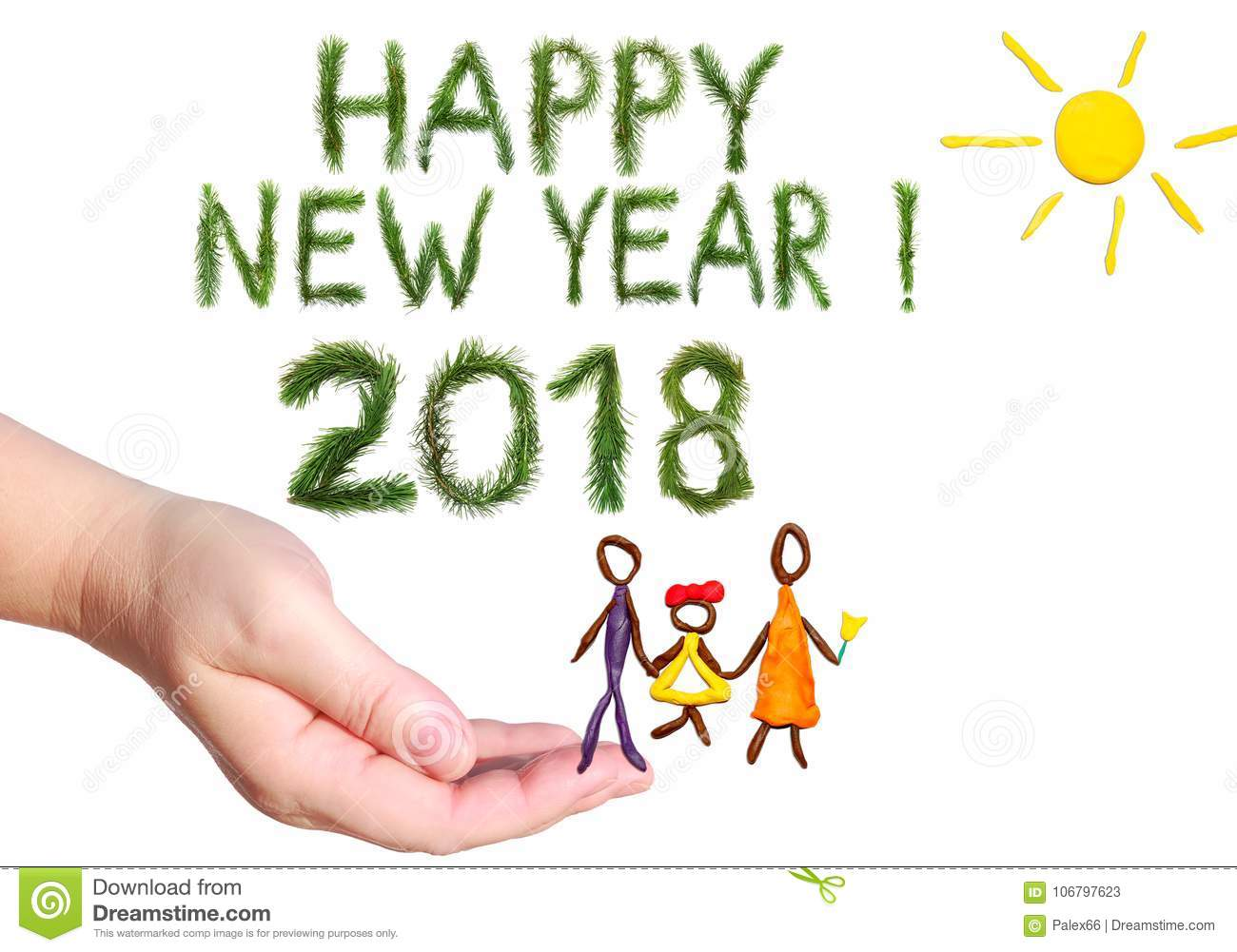 2018 happy new year greetings happy family walking under the yellow bright sun shining