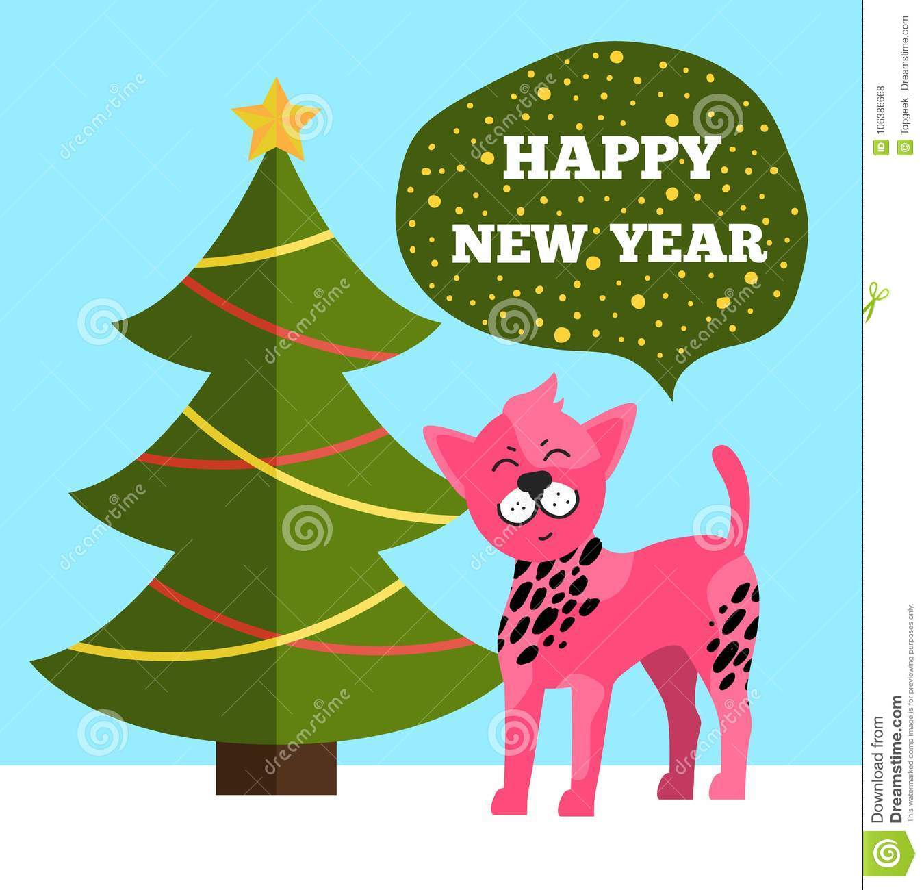 Happy New Year Greetings Poster Christmas Tree Dog Stock Vector ...