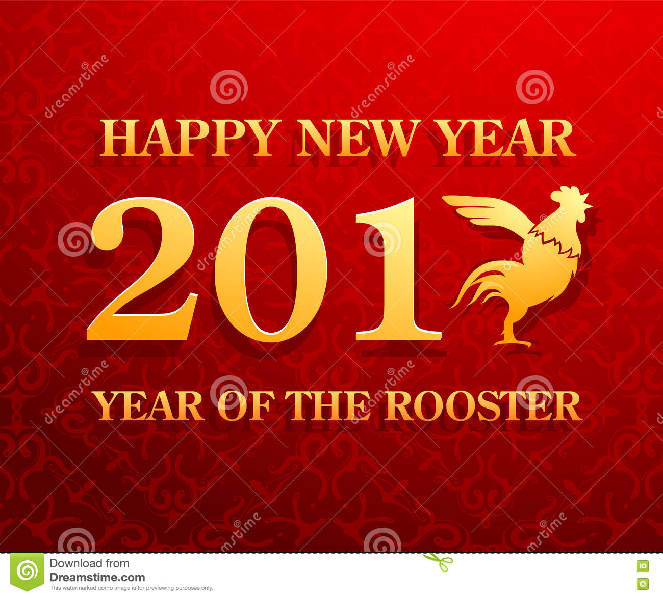 Happy New Year 2017 Greetings With Rooster Symbol Stock Vector