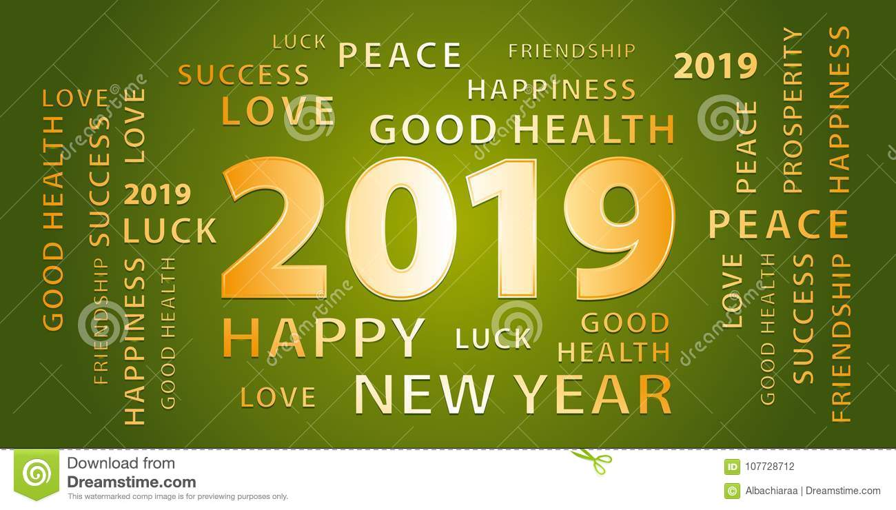 2019 happy new year greetings vector banner green and gold