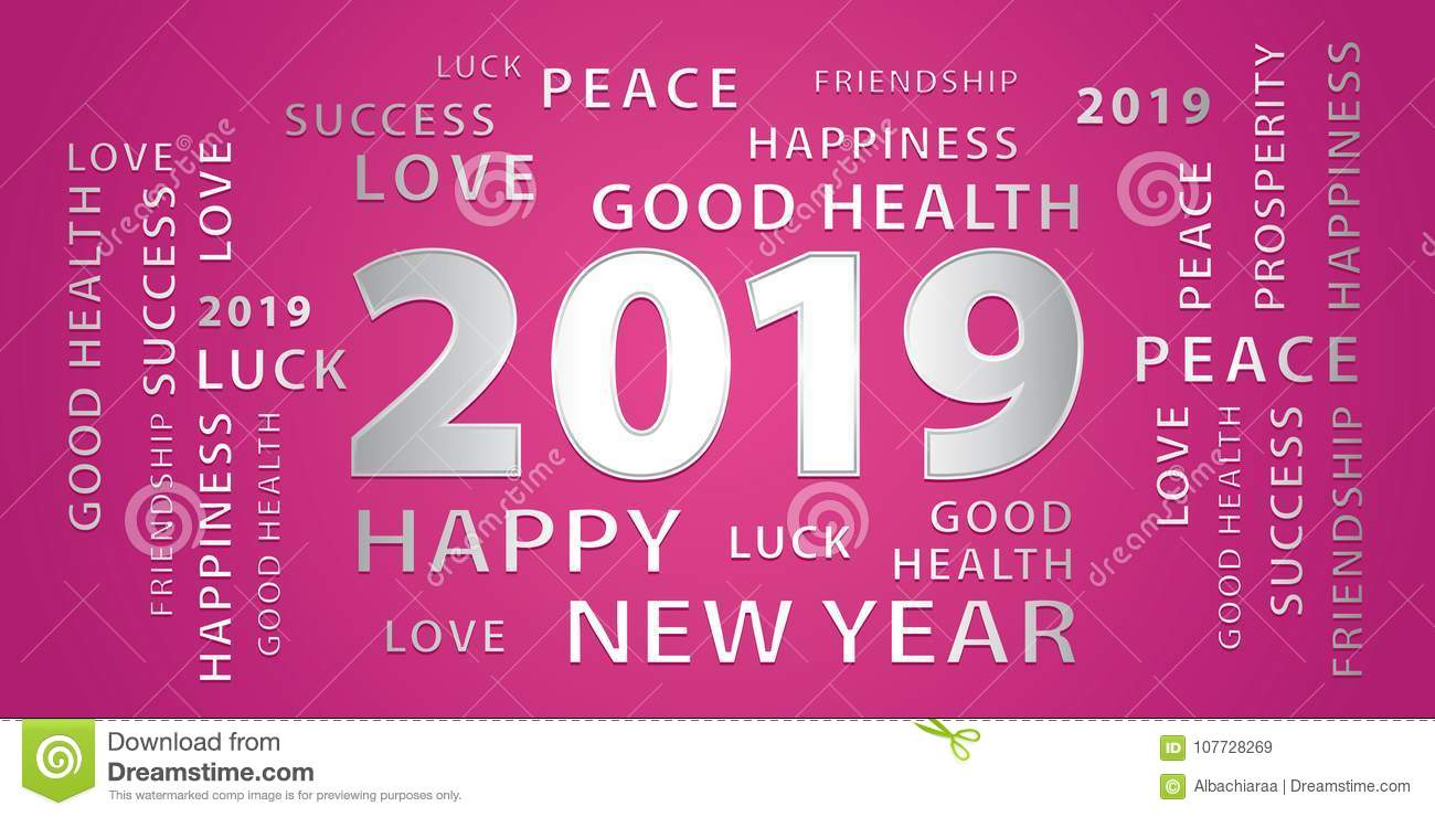 2019 happy new year greetings vector banner pink and silver