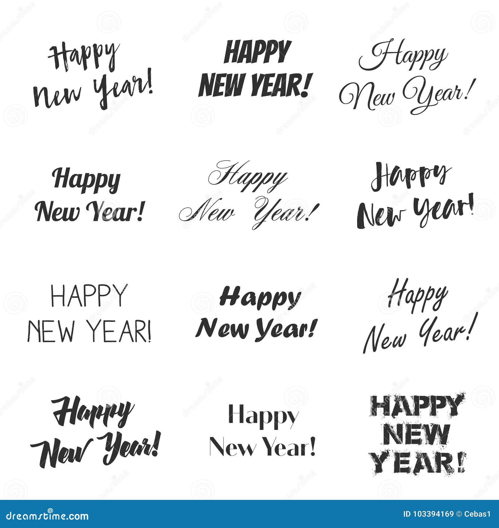 Happy New Year Greetings Vector Overlay Set Stock Vector ...