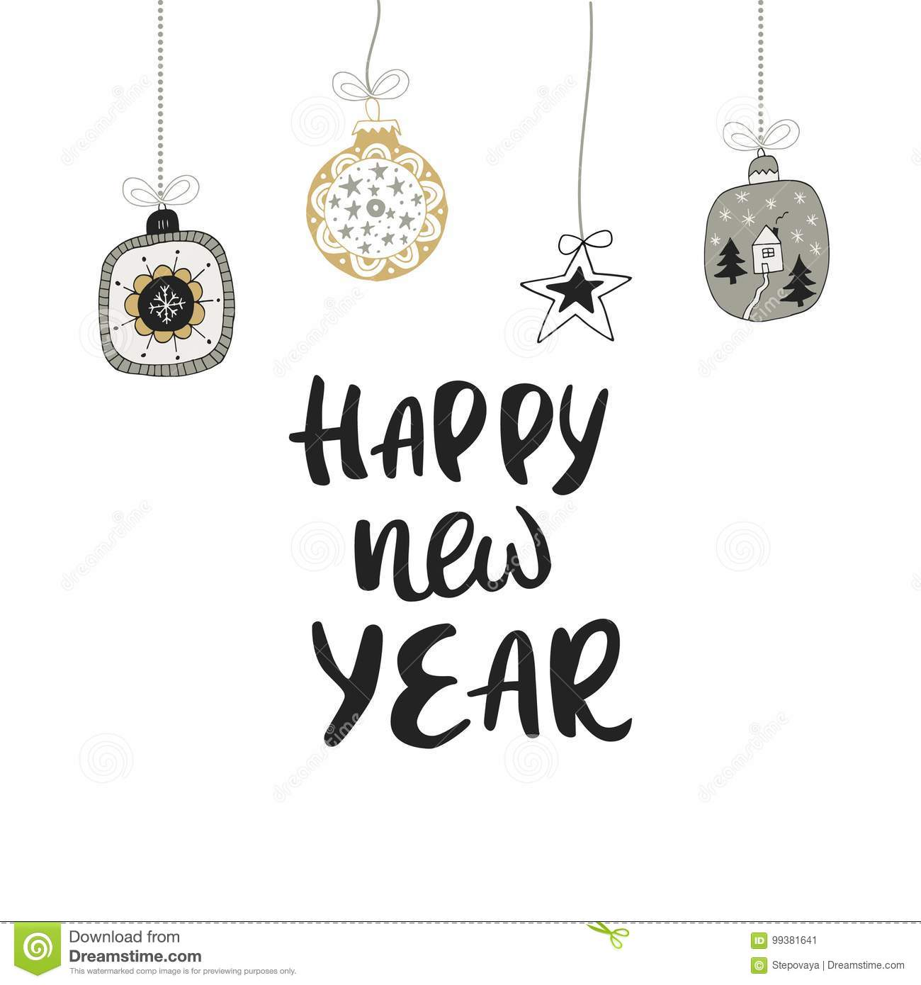 happy new year hand drawn christmas lettering with decoration cute new year clip art