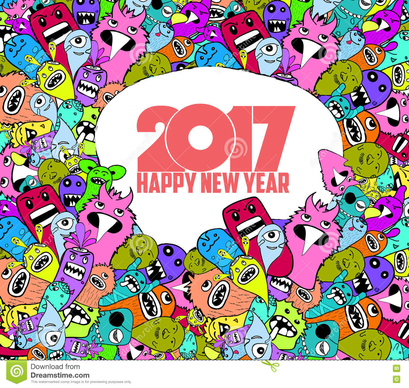 happy new year 2017 hand drawn monsters and cute doodle style