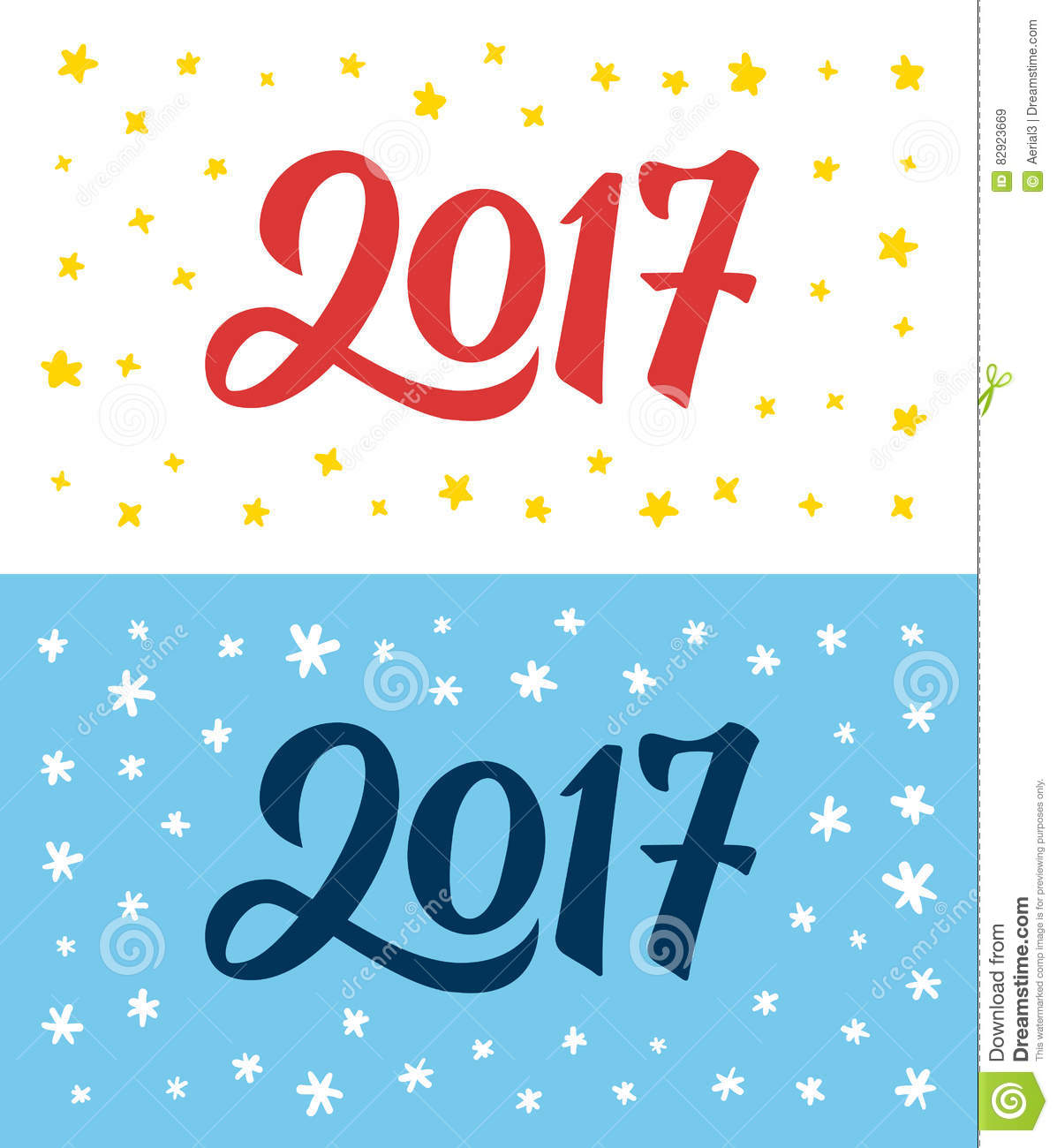 Happy New Year 2017 Hand Lettering Numbers On Card Stock Vector