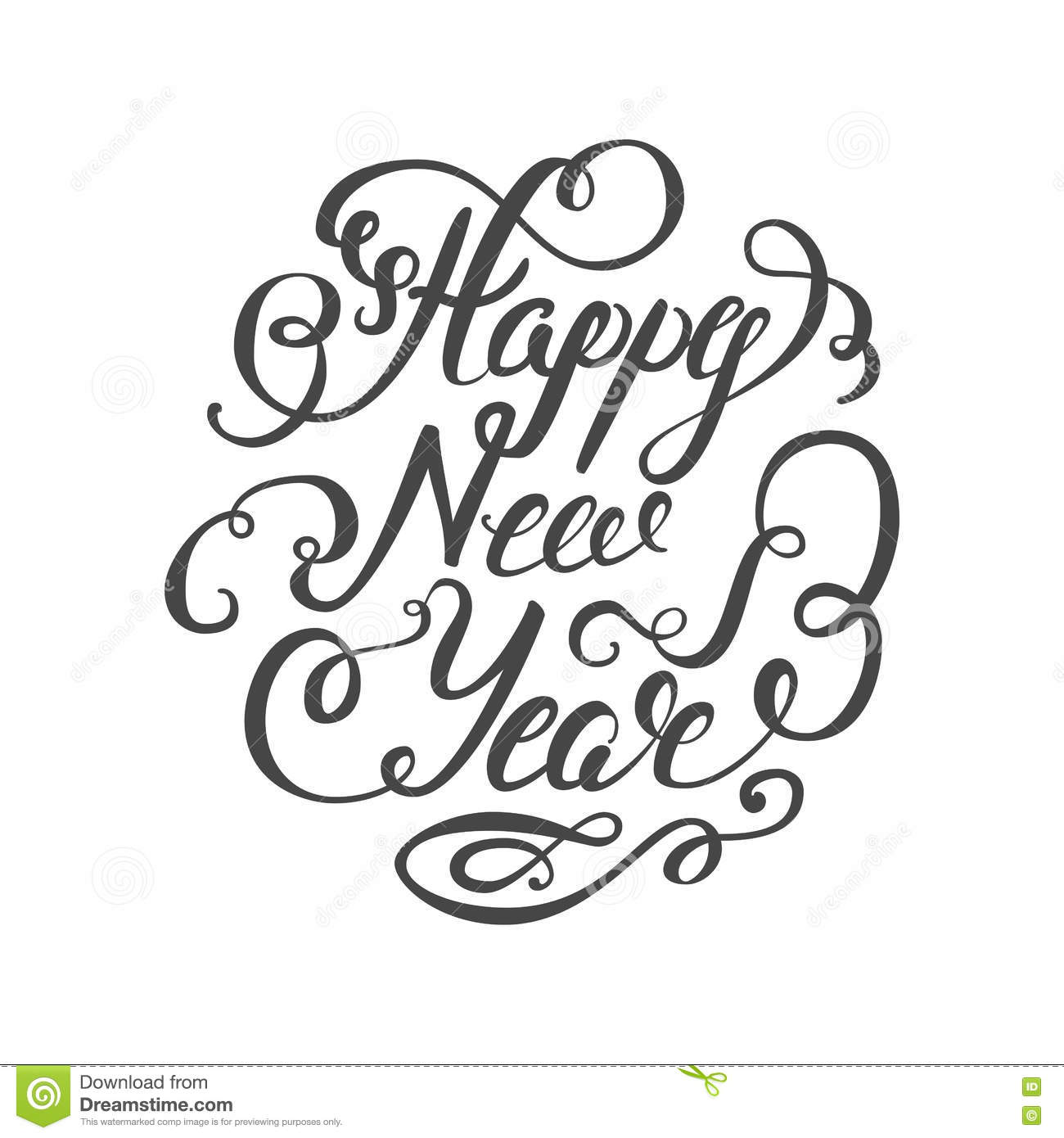 happy new year 2017 hand lettering text on white background handmade vector calligraphy
