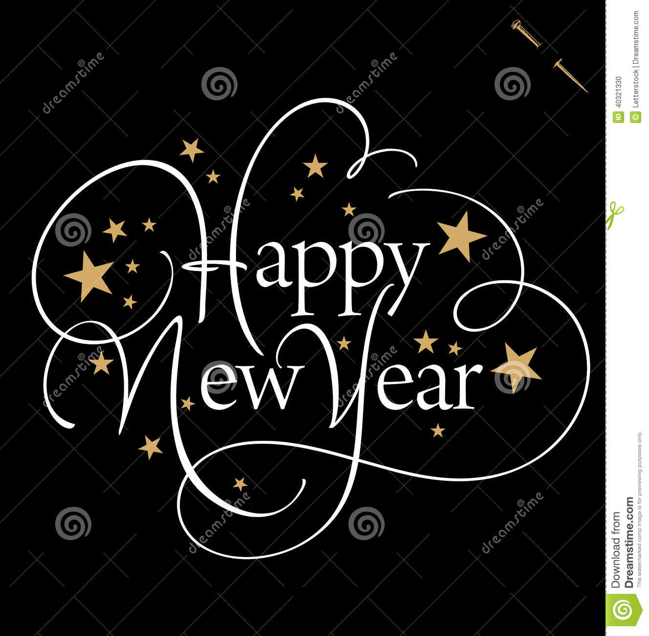 happy new year hand lettering vector stock vector