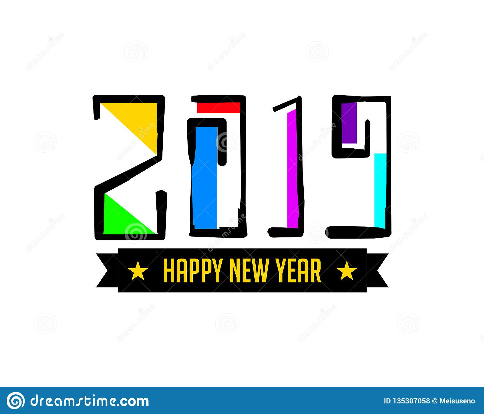 Happy new year 2019, hand lettering, vector illustration, decorative design on white background for greeting card, poster concept