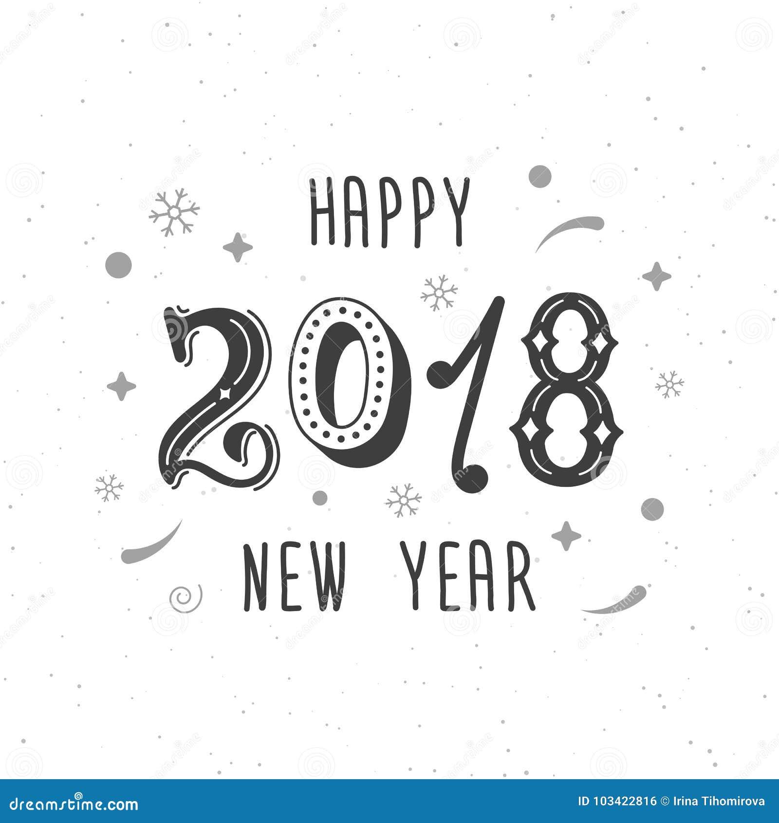 happy new year 2018 hand written modern brush lettering clipart