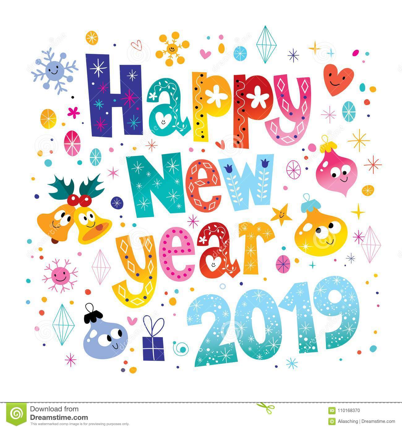 Happy New Year 2019 Stock Vector Illustration Of Sparkle 110168370