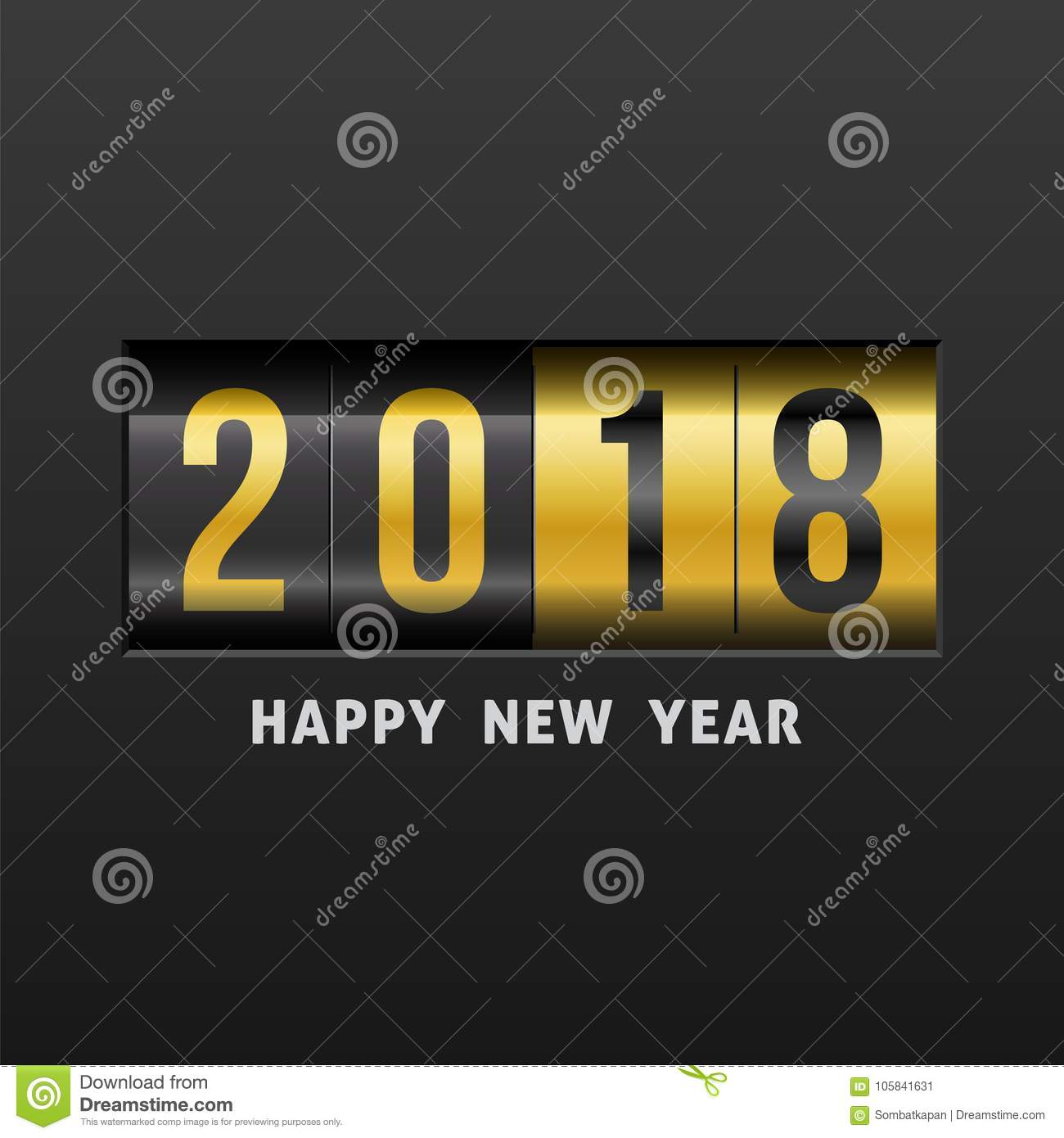 2018 Happy New Year. stock vector. Illustration of signs - 105841631