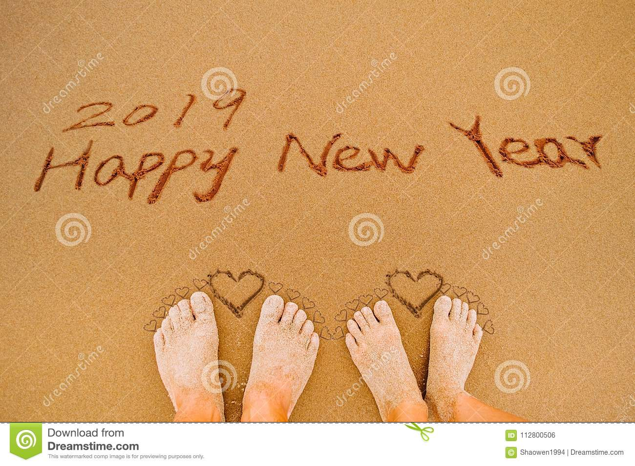 Word 2019 Happy New Year And Lover Feet Write On Beach