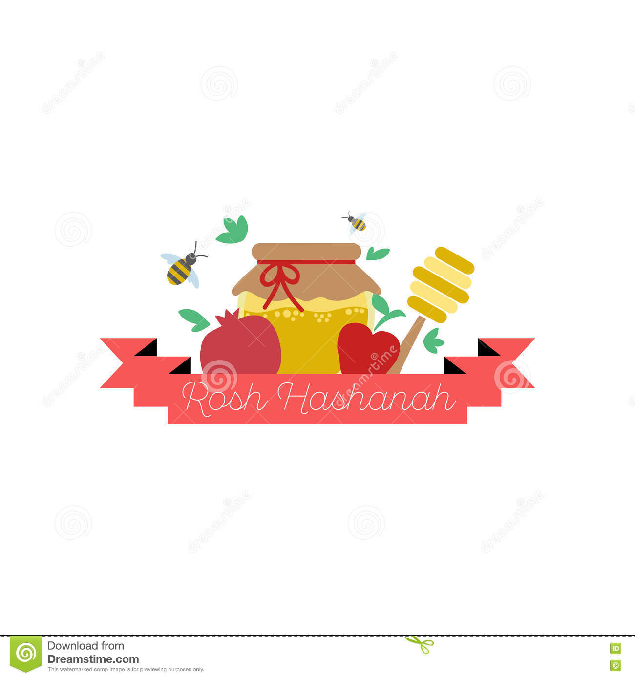 Happy New Year On Hebrew Stock Vector Illustration Of Design