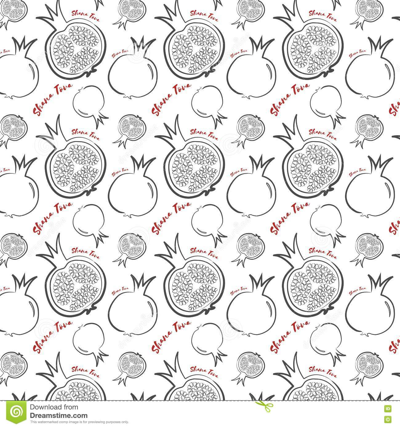 happy new year in hebrew seamless pattern background hand drawn