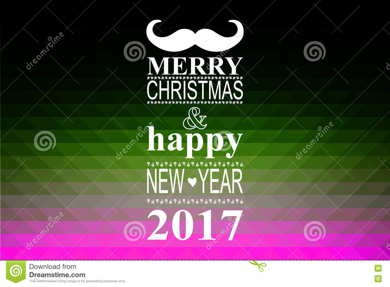 happy new year 2017 hipster banner with mustache