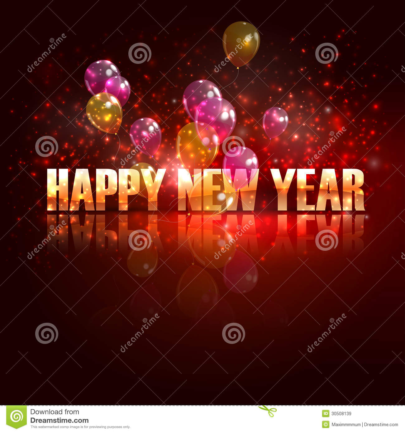 Happy new year. holiday background with balloons