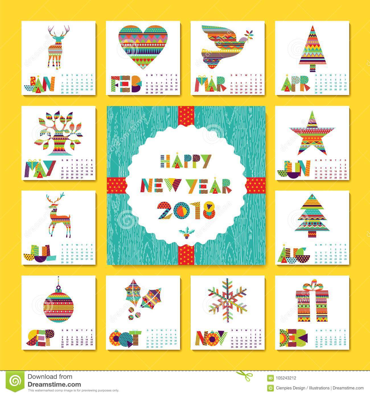 New Year 2018 Holiday Decoration Calendar Template Stock Vector
