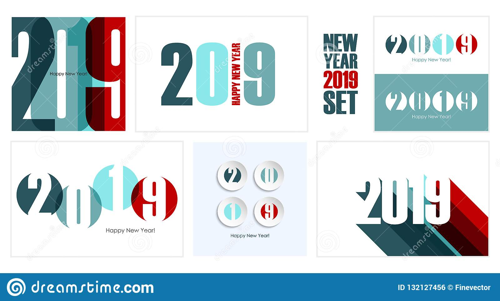 2019 Happy New Year Holiday Cards Set Creative Design For