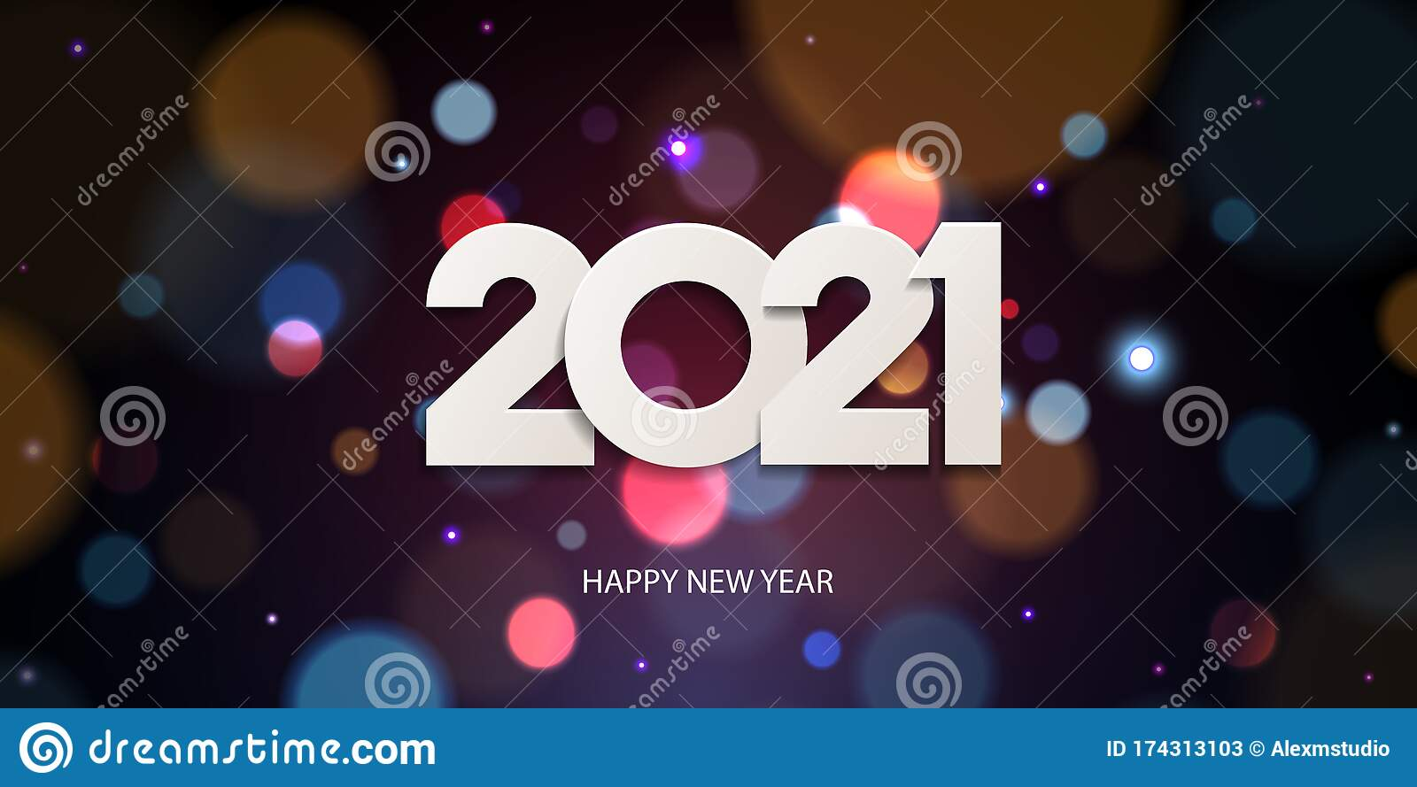 Happy New Year 2021 stock vector. Illustration of card ...