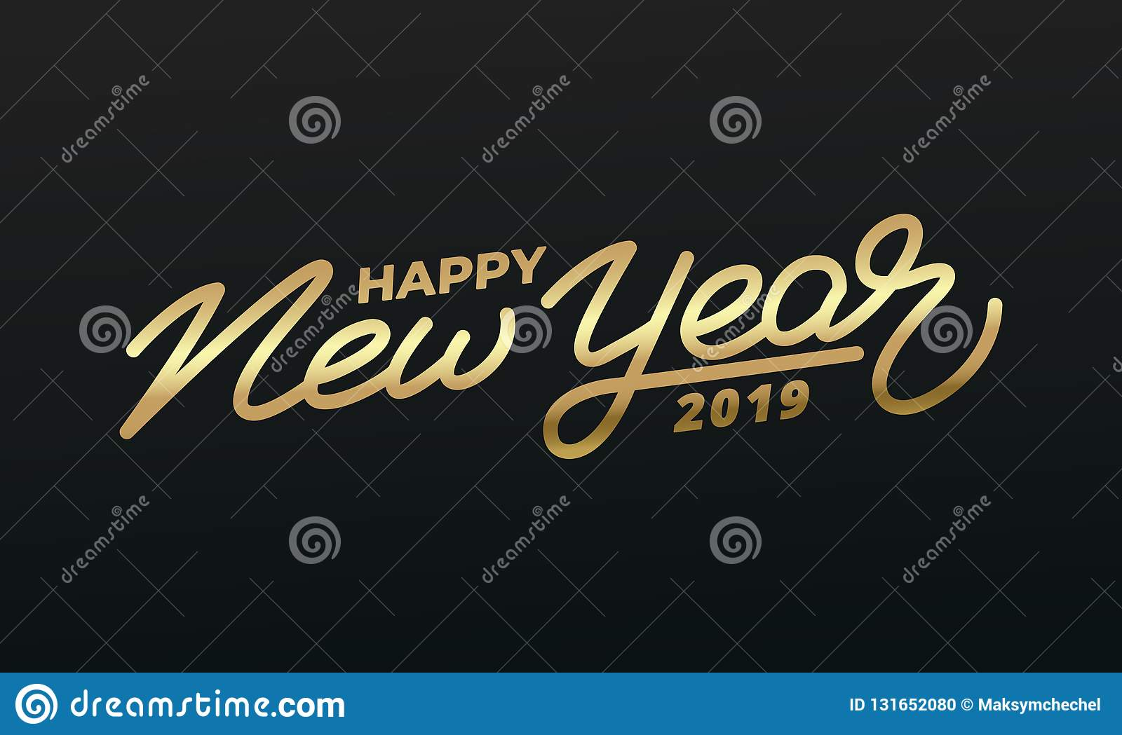 happy new year 2019 holiday illustration of gold lettering new year label