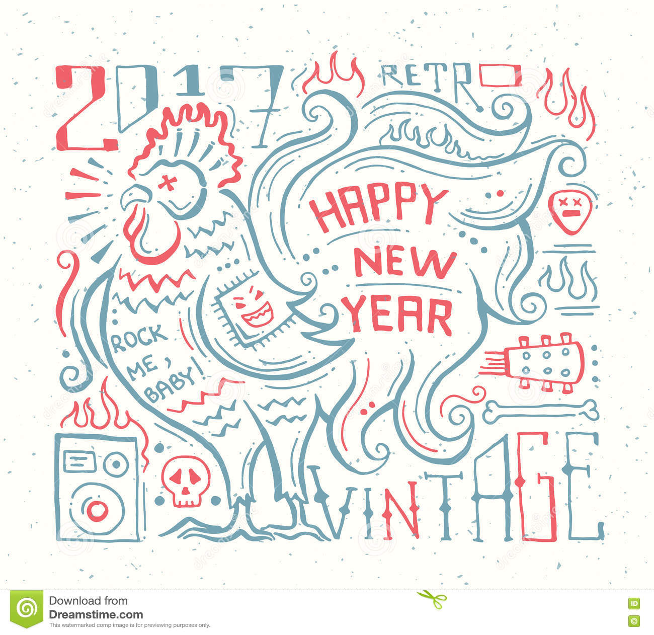 Happy New Year 2017 - Holiday Poster With A Rooster Stock ...