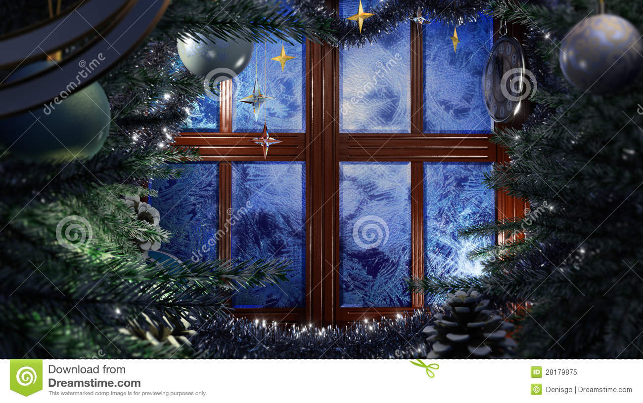 Happy New Year Holiday Scene With Frost Window Royalty