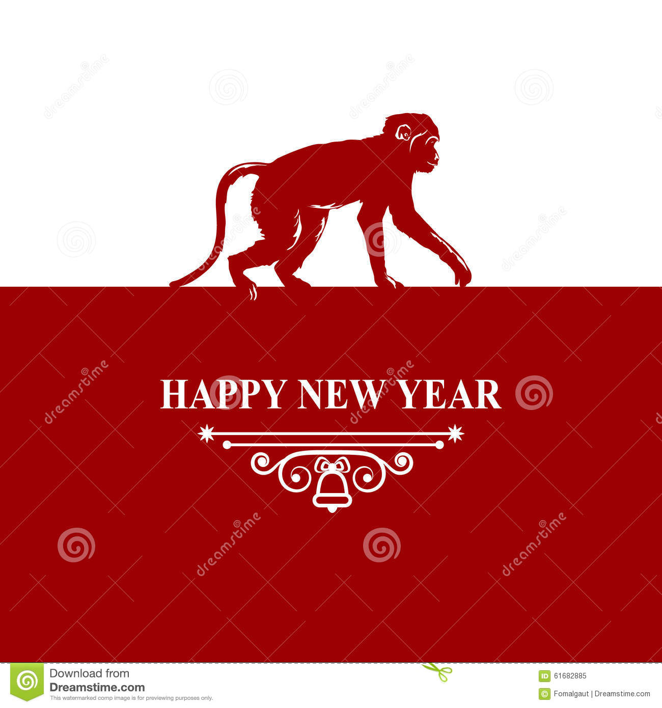 Happy New Year Holidays Wish Decorations Card. Silhouette ...