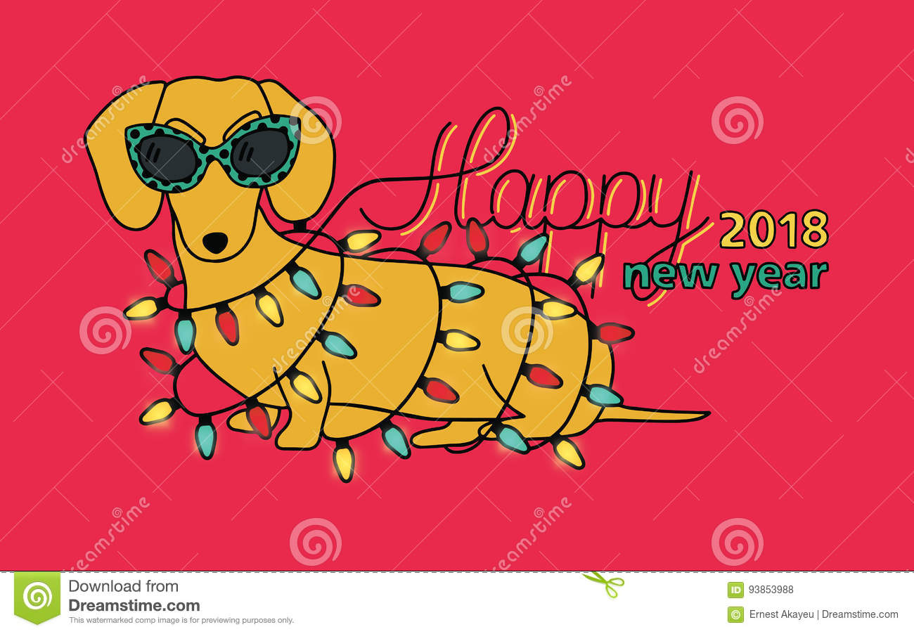 Postcard Happy New Year 2018 with congratulations and wishes 2