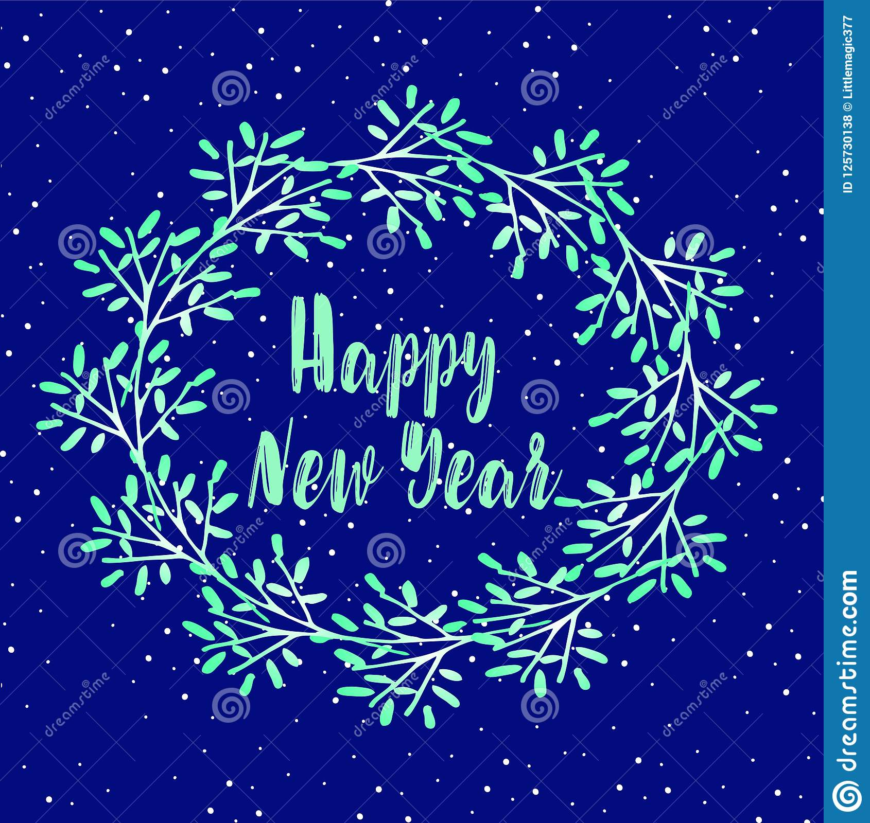 new year greeting card christmas wreath of twigs on a snowy blue background