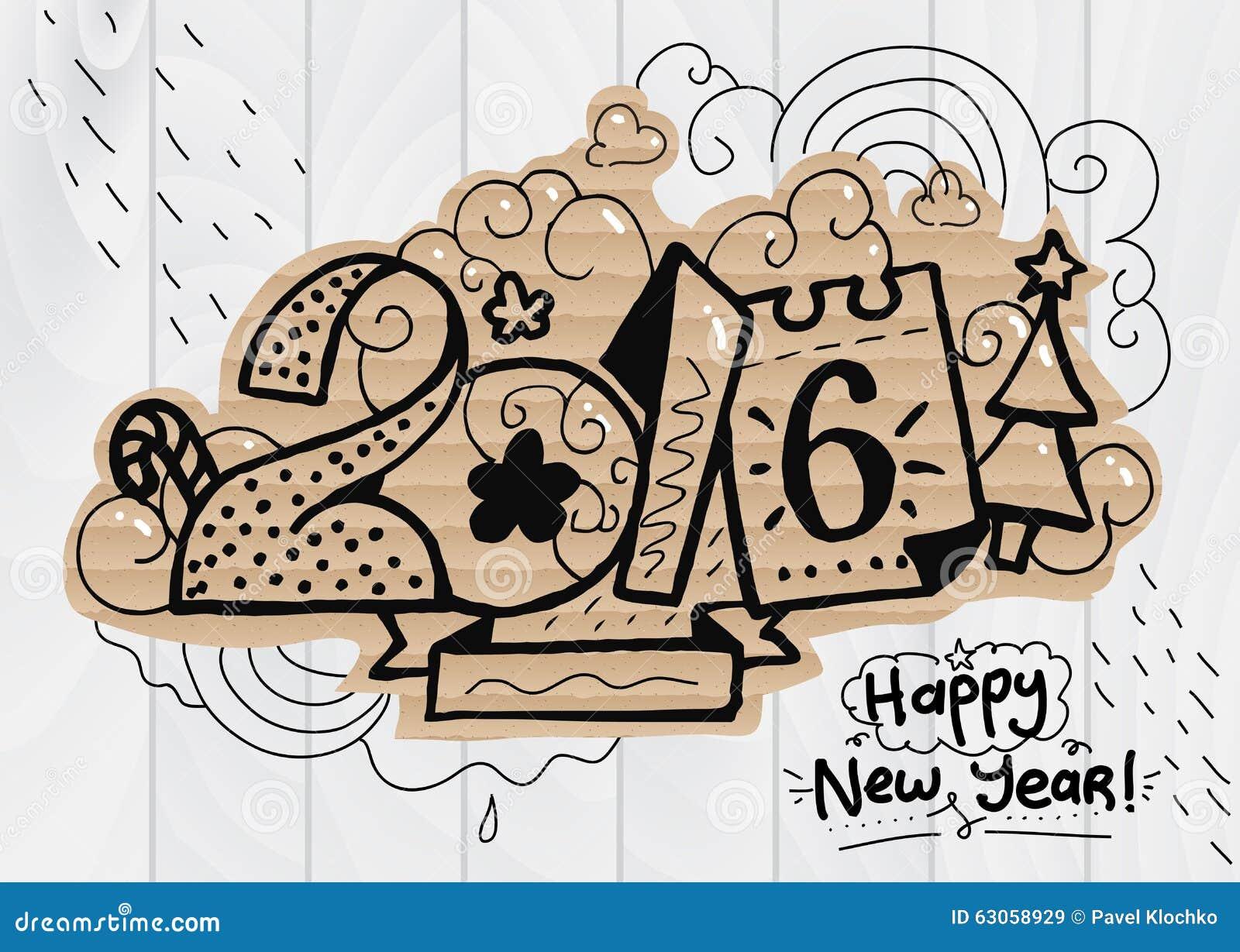 Happy New Year Illustration 2016 Font Hand Drawn Stock