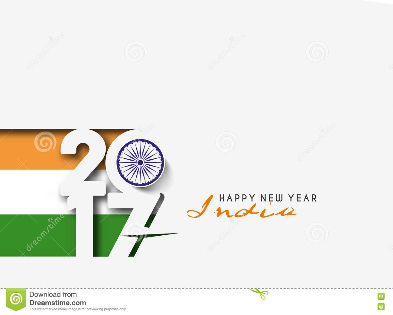 happy new year 2017 with india flag pattern text stock vector