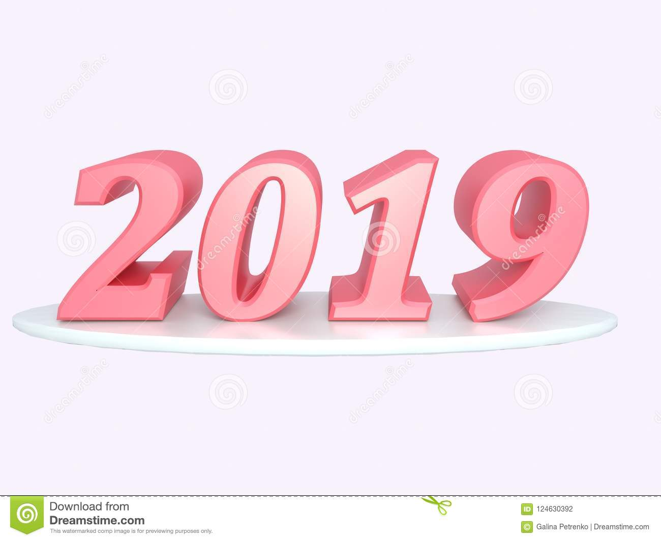Happy new year 2019 inscription of red color render set - New year 2019 color ...