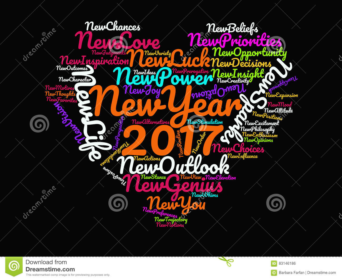 Happy New Year 2017 Inspirational Quotes and Motivational Sayings on Black Background Multicolor Heart Graphic Artwork Poster