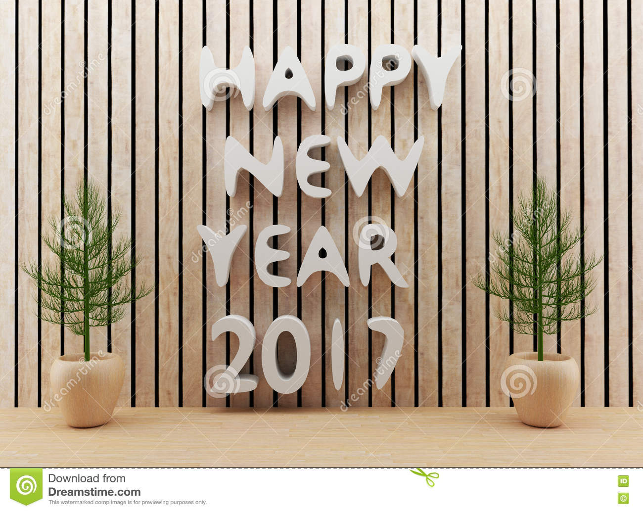 2017 new year 3d render royalty free stock photo for Interior decoration for new year