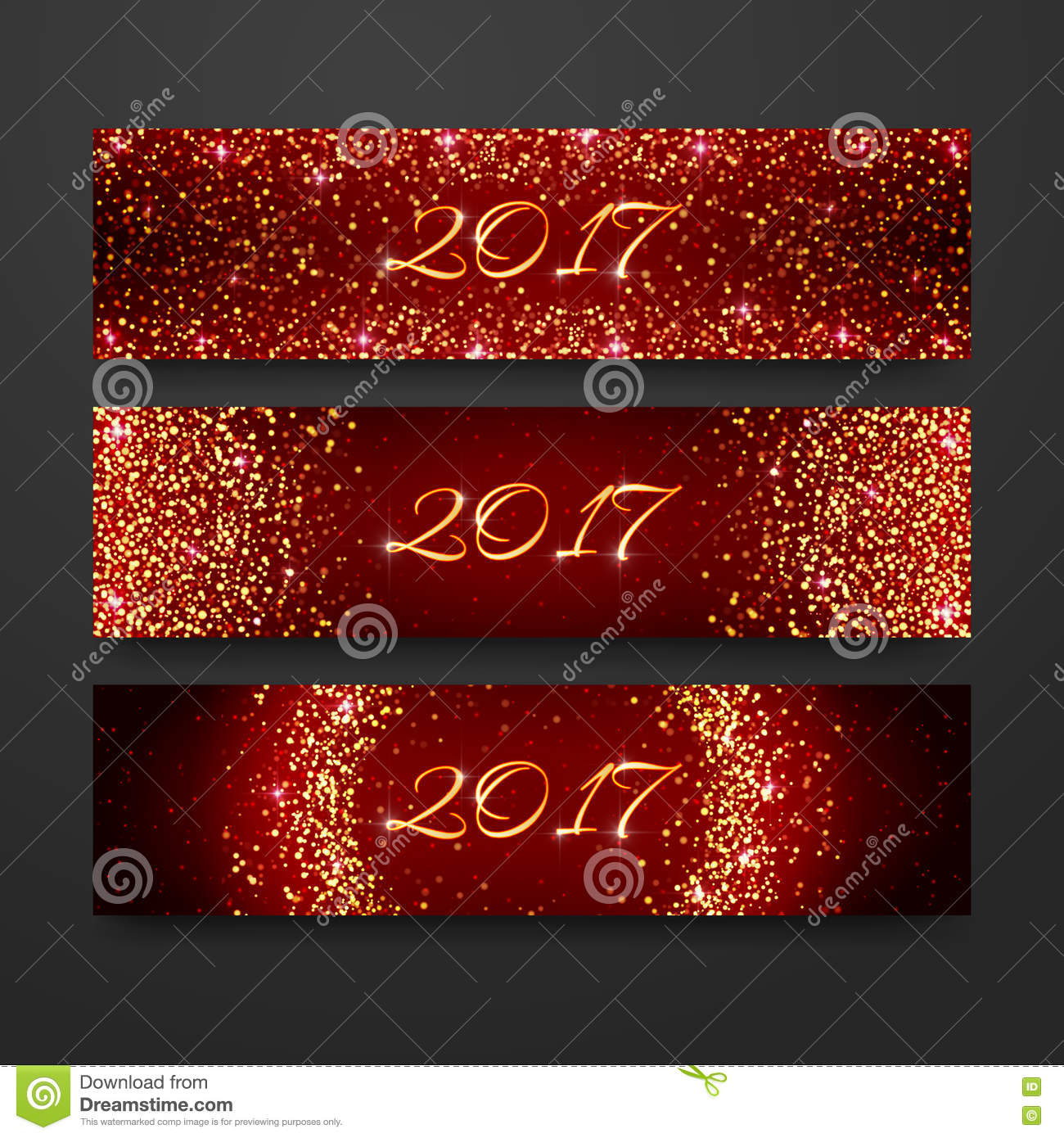 happy new year 2017 invitation design collection headline holiday template with sparkles on red background