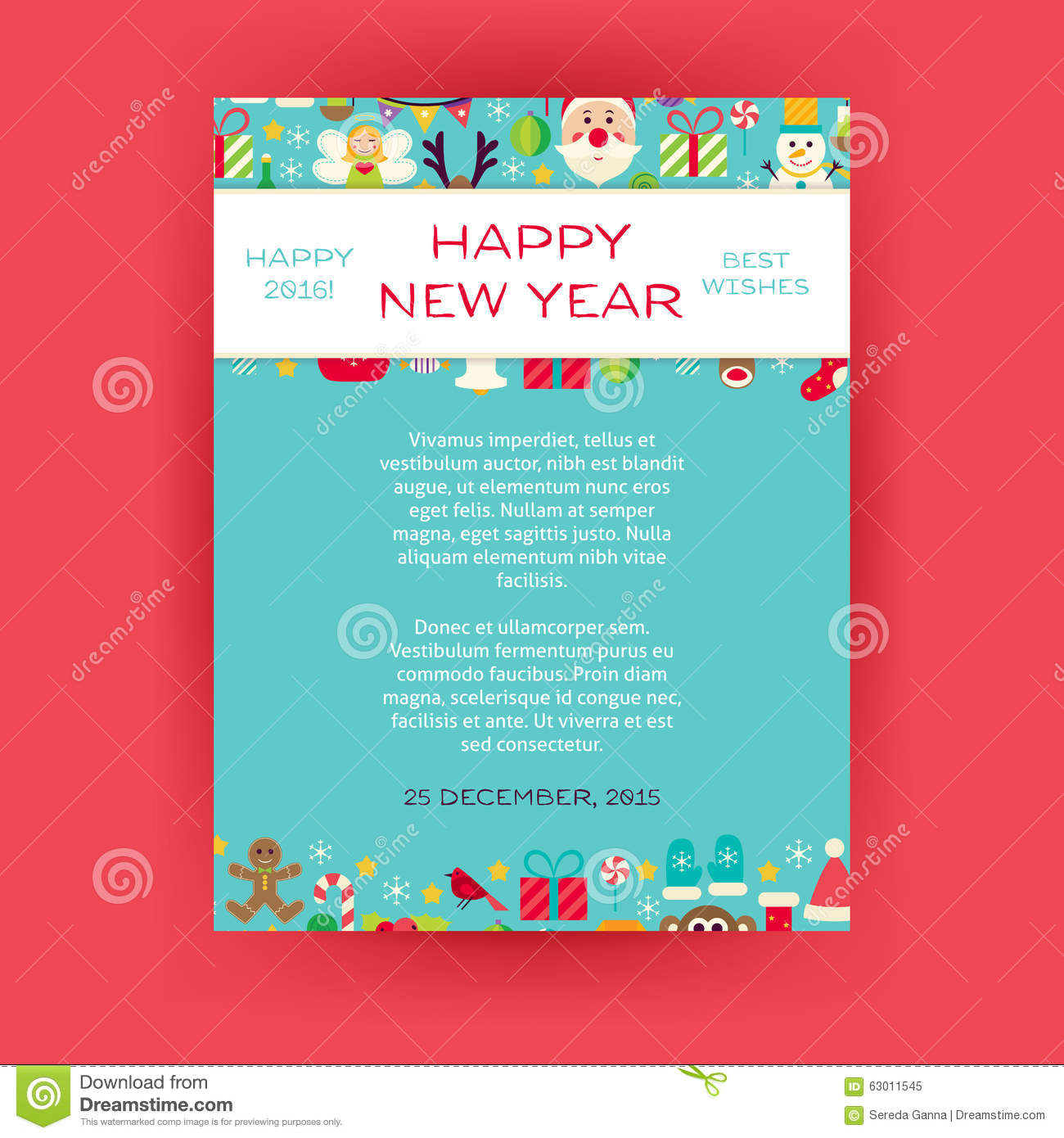 happy new year invitation vector template flyer