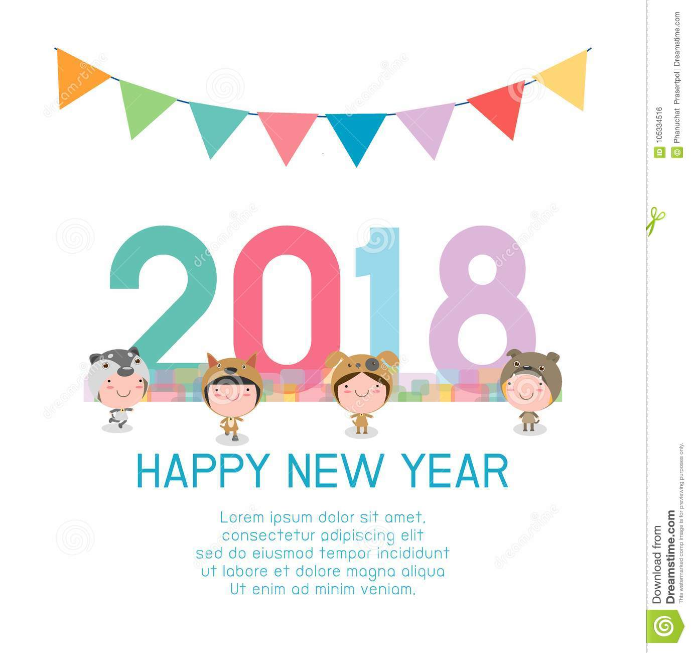 happy new year 2018 kids background happy child with happy new year 2018 dog