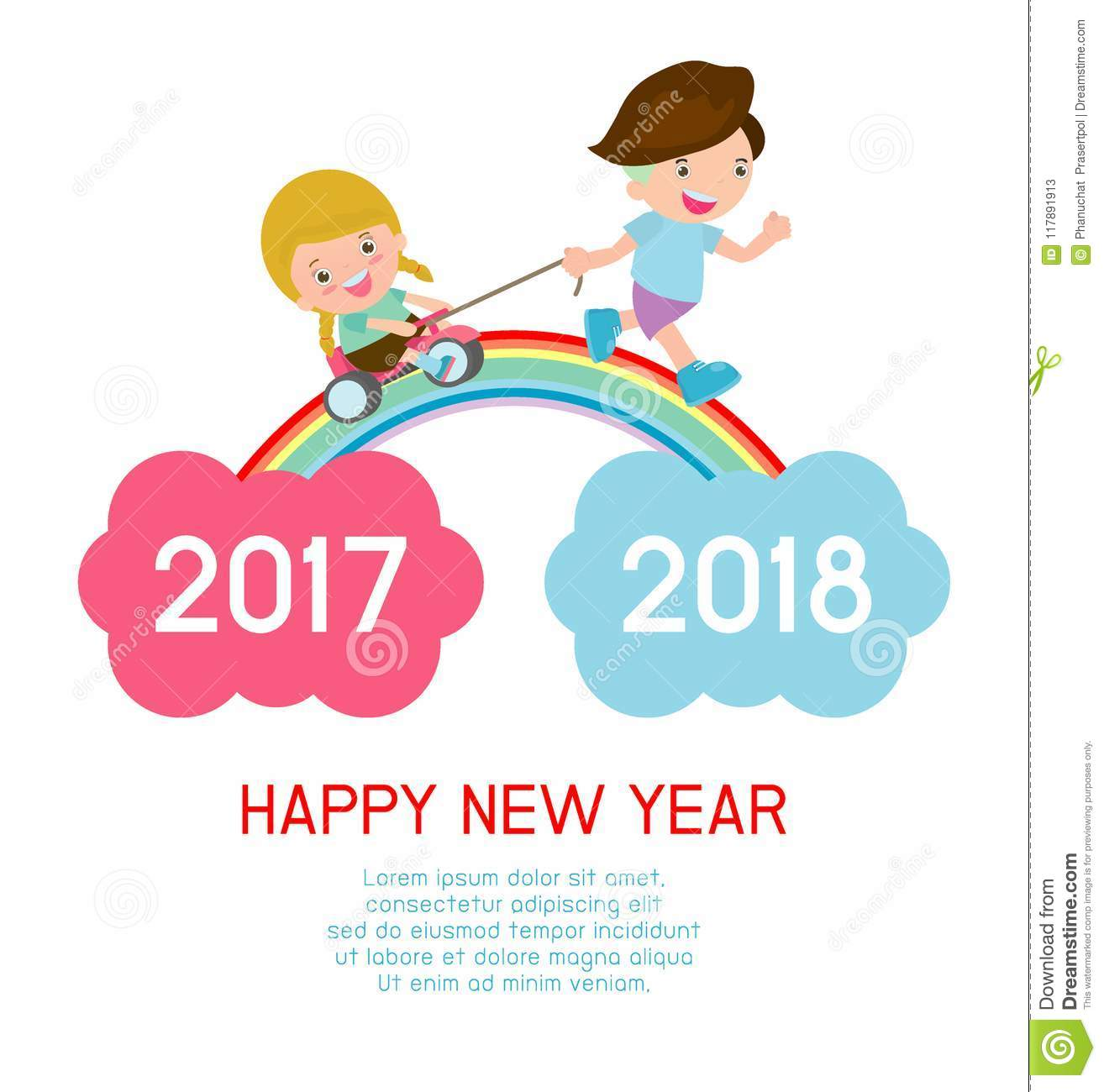 happy new year kids background children running on the rainbow between 2017 and 2018
