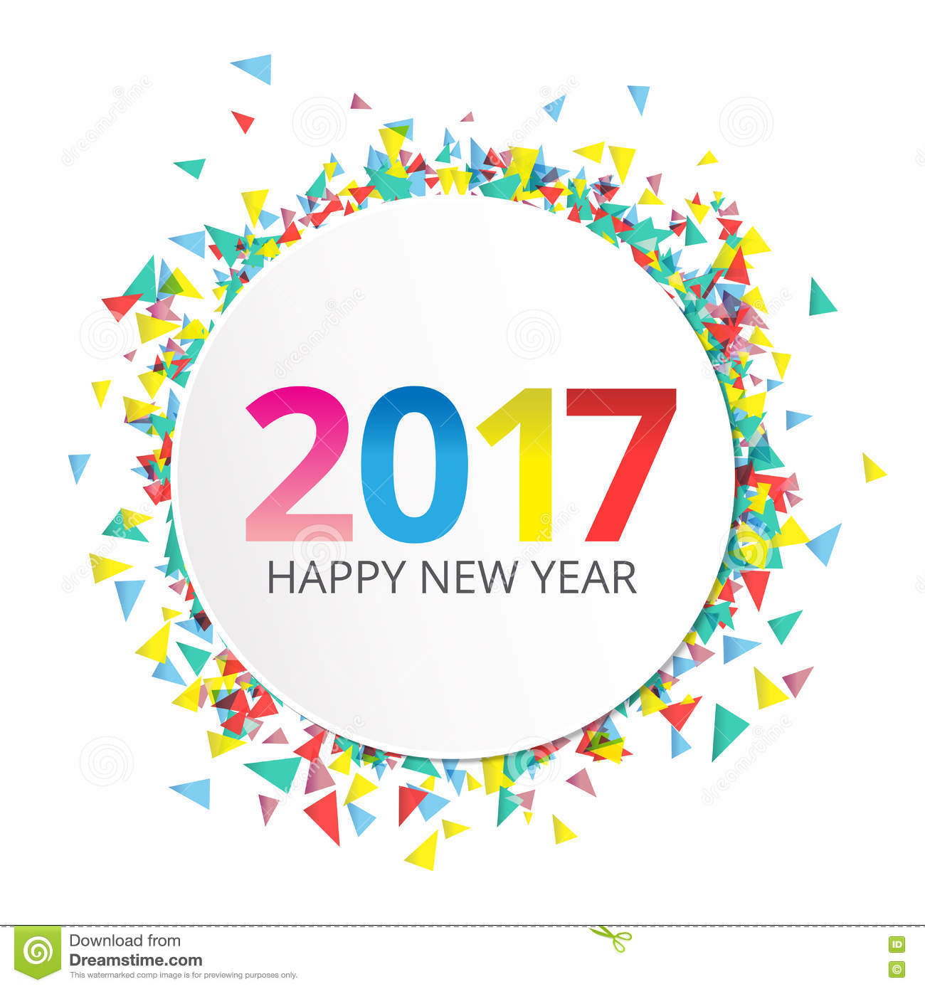 happy new year 2017 label on background