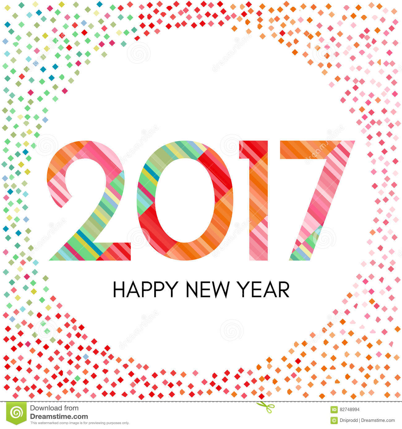 Happy New Year 2017 Label With Colorful Confetti Stock Vector ...