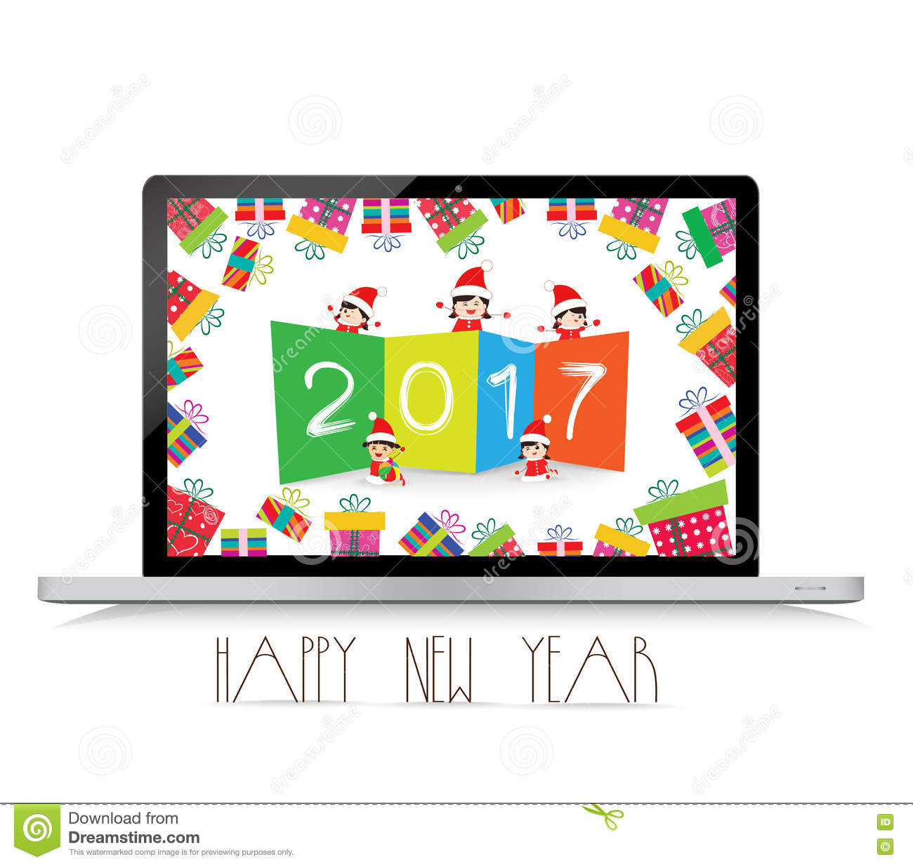 happy new year 2017 with laptop funny kids