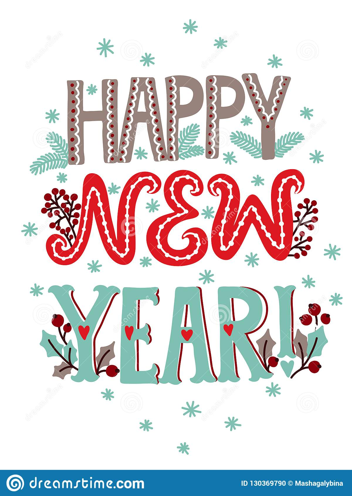 Happy New Year Lettering Design 32