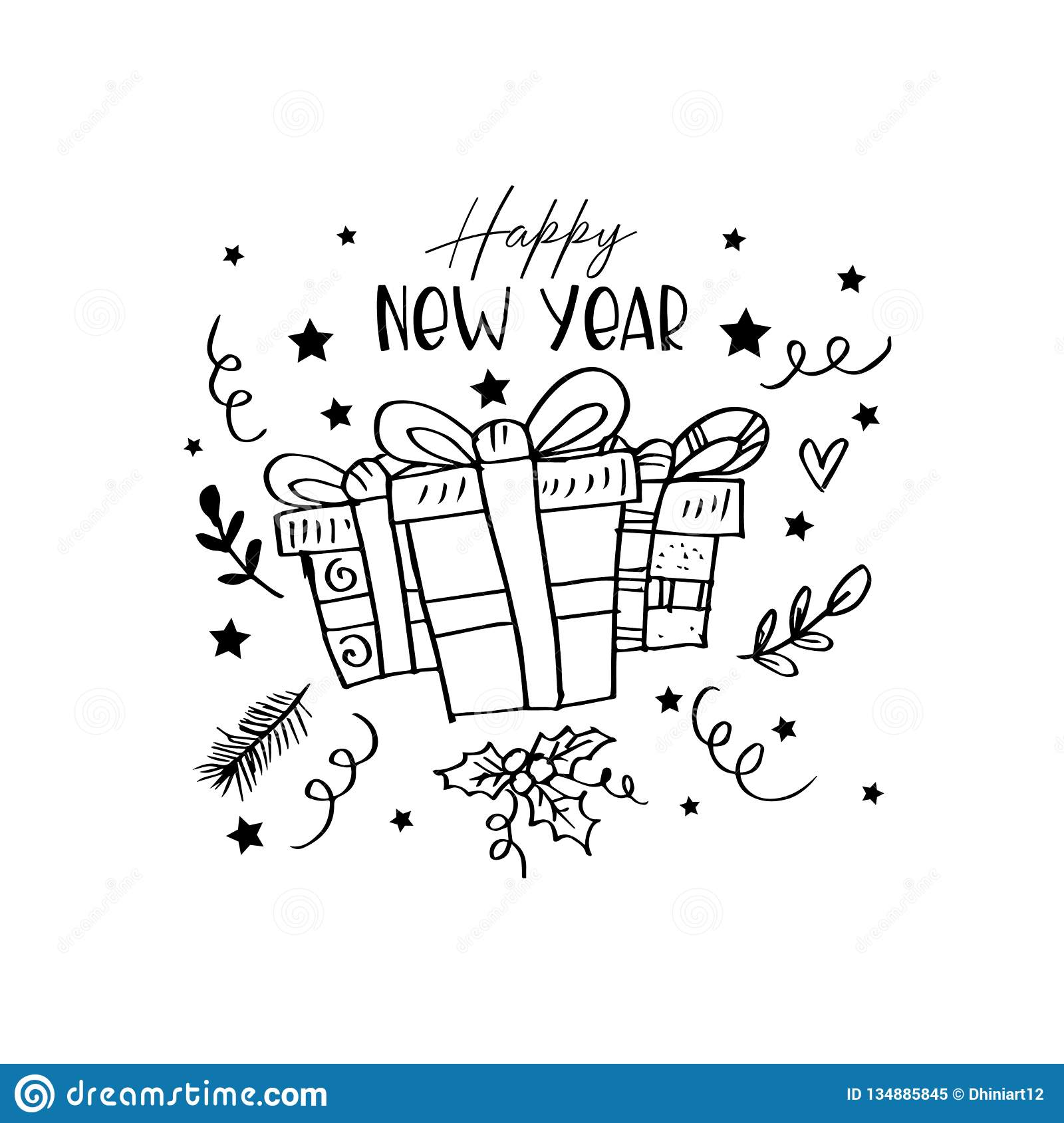 Happy New Year Lettering And Gift Box Stock Illustration ...