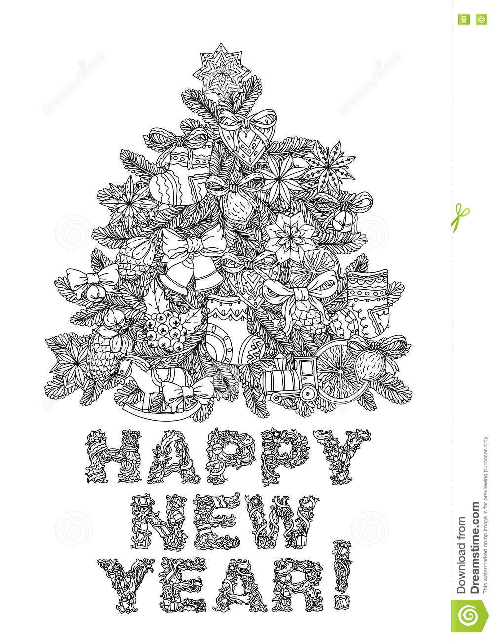 vector doodle christmas happy new year lettering greeting card design vector illustration hand drawn line illustrationsketch for postcard or print or