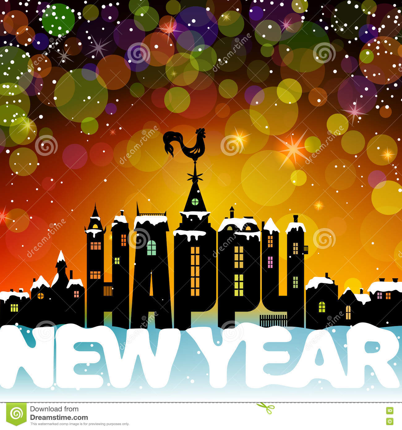 happy new year lettering letters like the silhouette of the ancient